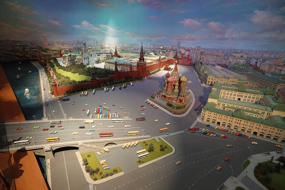 "Small-scale model called ""Moscow – Capital of the USSR""  showing the historical centre of Moscow and the city's surroundings"