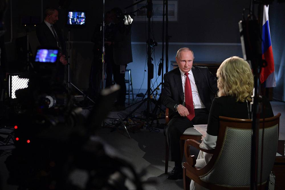 Russia's President Vladimir Putin gives an interview to NBC News Anchor Megyn Kelly on the sidelines of the 2017 St Petersburg International Economic Forum, June 5