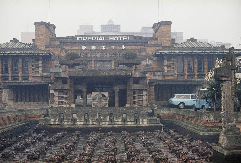 Exterior view of the Hotel Imperial designed by architect Frank Lloyd Wright in Tokyo, Japan, 1967. Wright's Imperial Hotel was built in 1923 and suffered structural damage in earthquake. The hotel, pyramid-like structure, was constructed with volcanic stone and concrete. The Imperial Hotel was demolished in 1968