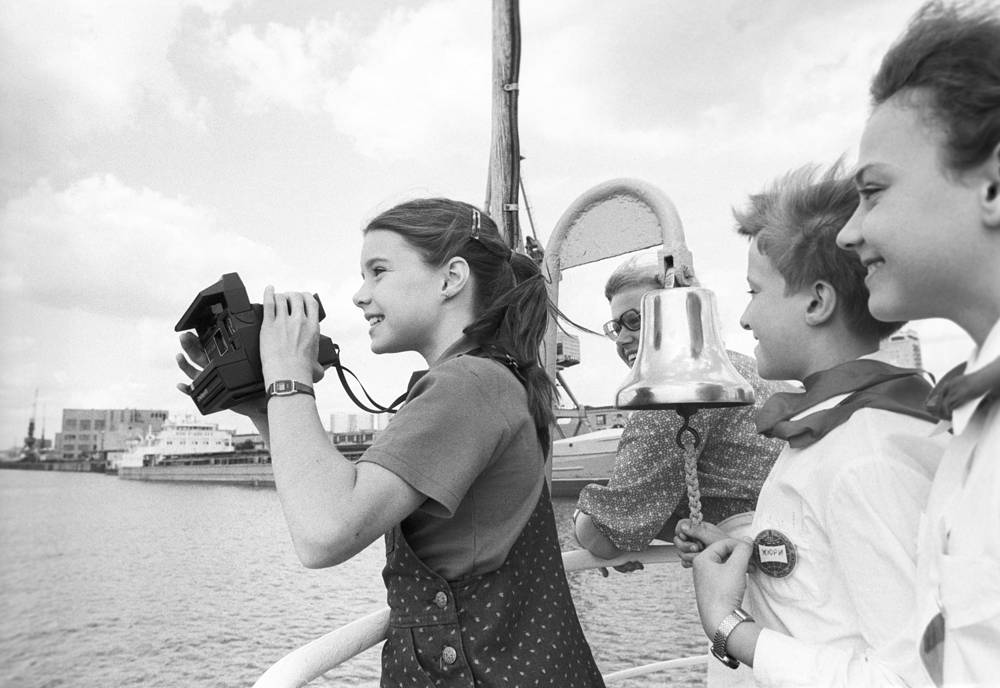 American schoolgirl and peace activist Samantha Smith taking a boat trip down the Moskva River, 1983