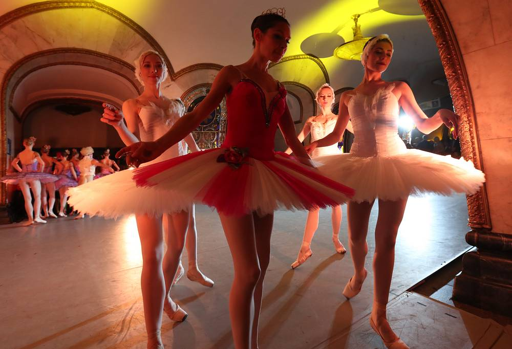 Dancers of the Kremlin Ballet Theatre seen after a night concert for the 2017 FIFA Confederations Cup football fans at Novoslobodskaya Station of the Moscow Metro, Russia, June 26