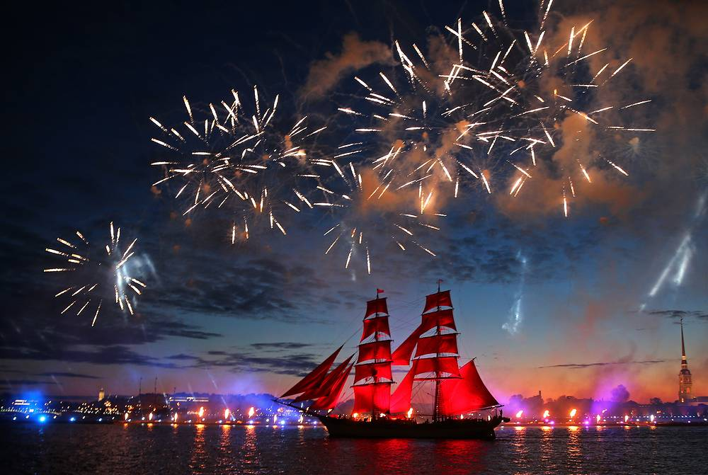 The Tre Kronor Stockholm brig sails along the Neva River as fireworks go off to mark the 2017 Scarlet Sails annual festival for school leavers, Saint Petersburg, Russia, June 24