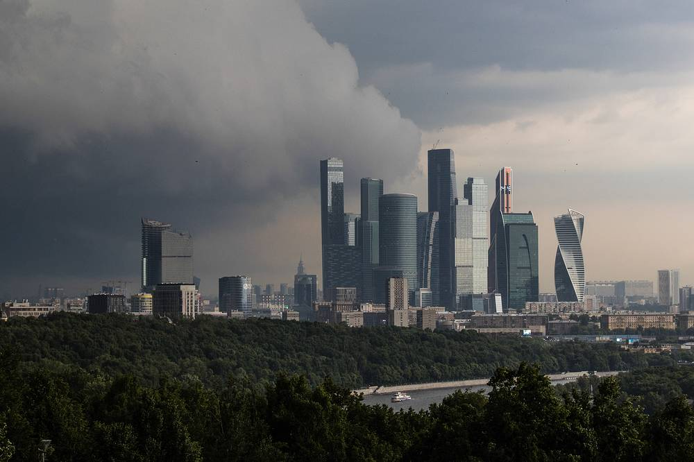 Storm clouds seen over the Moscow International Business Centre
