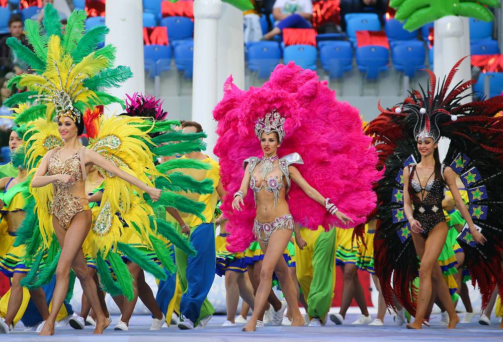 Performers dressed in Brazilian carnival costumes at the closing ceremony of the 2017 FIFA Confederations Cup at St Petersburg Arena Stadium