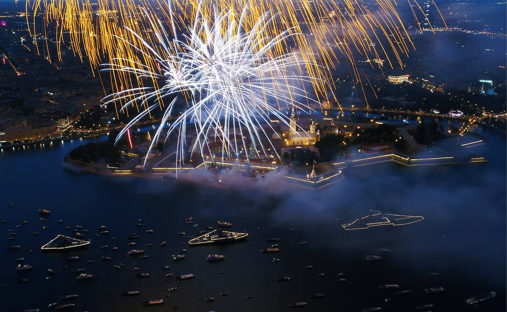 Fireworks go off to mark Russian Navy Day in St Petesburg, Russia, July 30