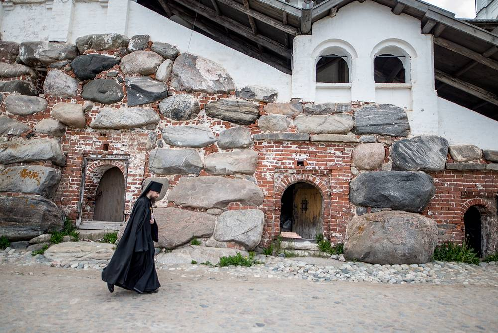 A monk seen at the Solovetsky Monastery
