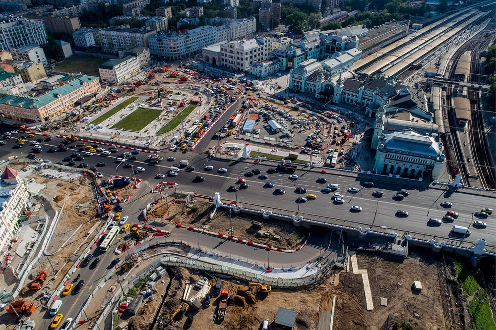 Reconstruction of the square by the Belorussky railway station, Moscow, Russia, Augist 16