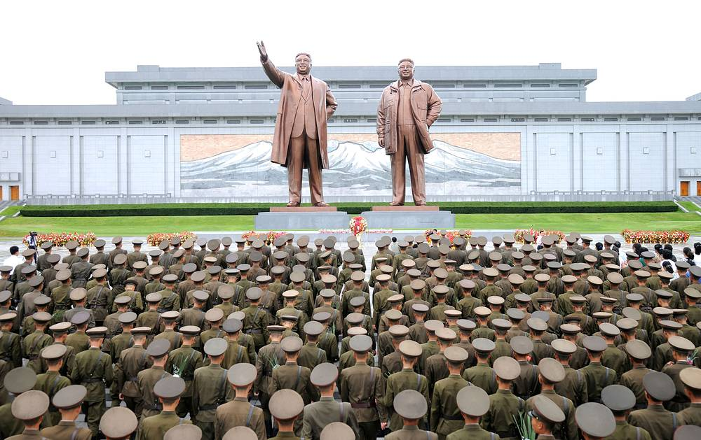 Servicemen of the Korean People's Army visiting the monuments of Kim Il Sung and Kim Jong Il on the occasion of the 72nd anniversary of national liberation, Pyongyang, North Korea, August 15