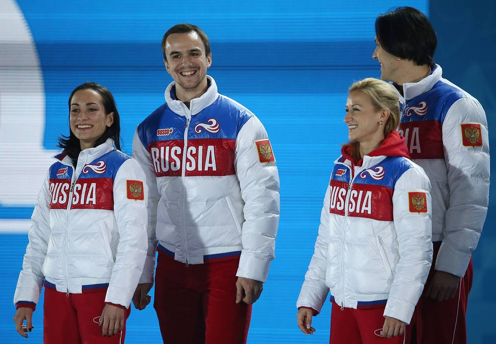 Russian silver and gold medalists in figure skating Fedor Klimov and Ksenia Stolbova and Maxim Trankov and Tatiana Volosozhar at 2014 Winter Olympic Games in Sochi, Russia