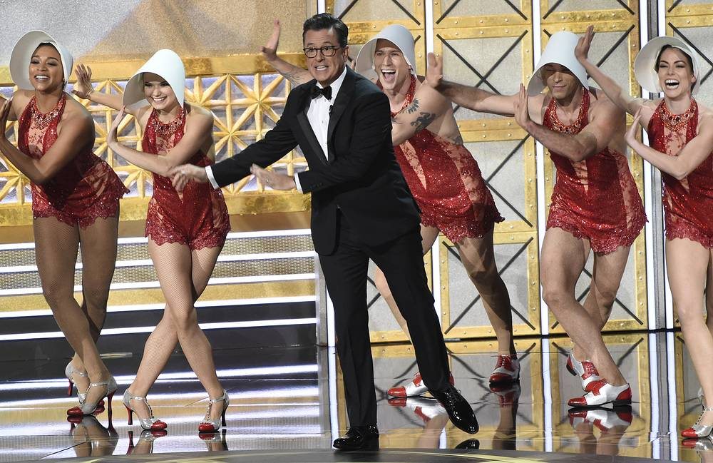 Host Stephen Colbert performs at the 69th Primetime Emmy Awards at the Microsoft Theater in Los Angeles, USA, September 17