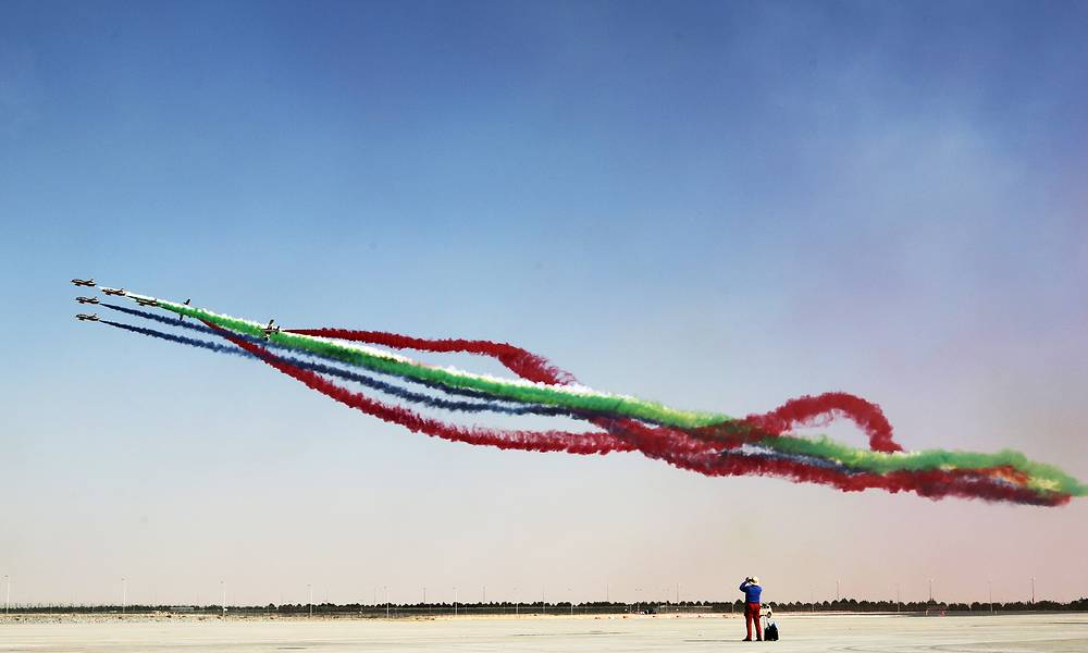 Aermacchi MB-339 trainer aircraft of the United Arab Emirates' Al Fursan aerobatic team