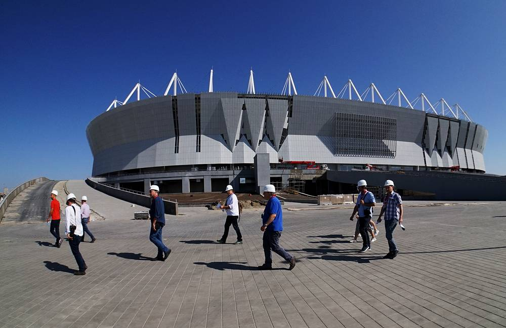 A view of Rostov Arena Stadium under construction