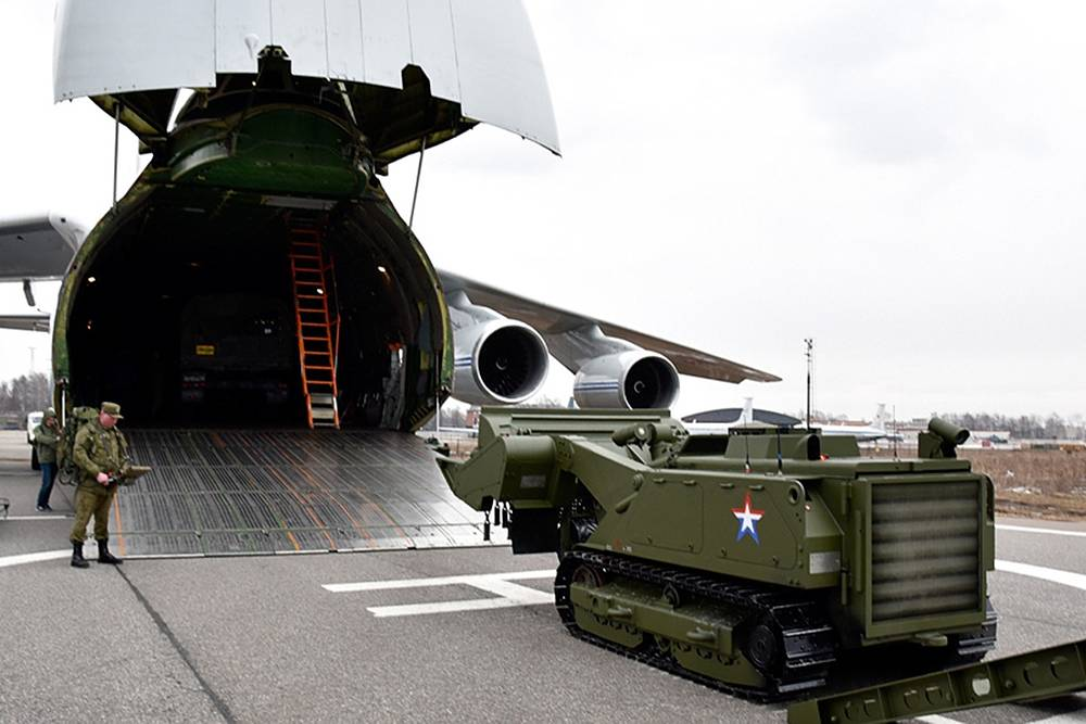 An Uran-6 military mine clearing robotic complex of the Russian Armed Forces' International Mine Action Center being loaded into An-124 aircraft. The equipment was used in a mine-clearing operation in the Syrian city of Palmyra, March 29, 2016