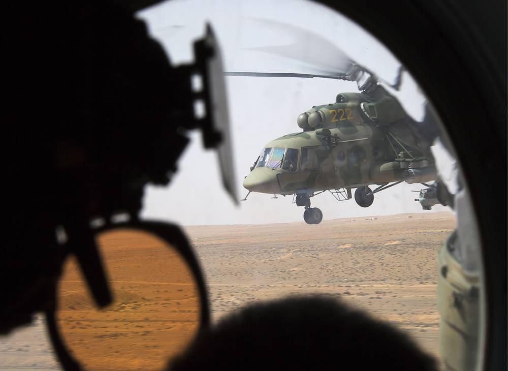 Russian multipurpose helicopter Mi-8 in Palmyra, April 10, 2016
