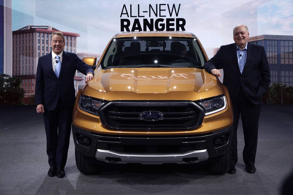 Ford Motor Co. Executive Chairman Bill Ford stands with President and CEO Jim Hackett, next to the 2019 Ford Ranger pickup