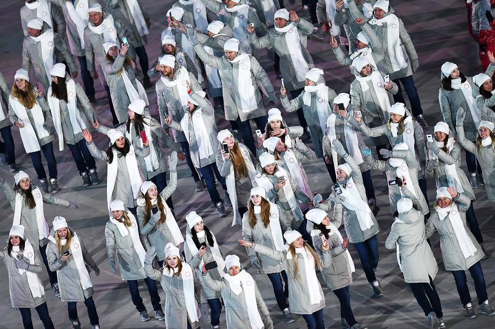 Olympic Athletes of Russia at the stadium during the Opening Ceremony of the PyeongChang 2018 Olympic Games in Pyeongchang, South Korea