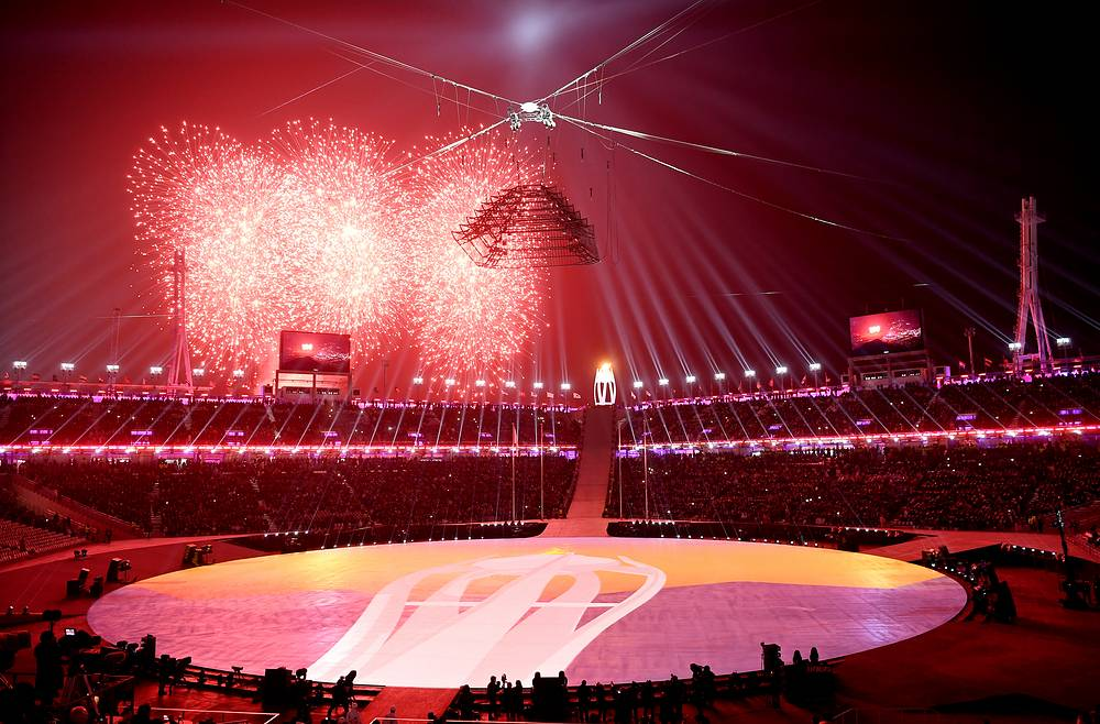 Fireworks illuminate the Olympic Stadium during the Closing Ceremony of the PyeongChang 2018 Olympic Games