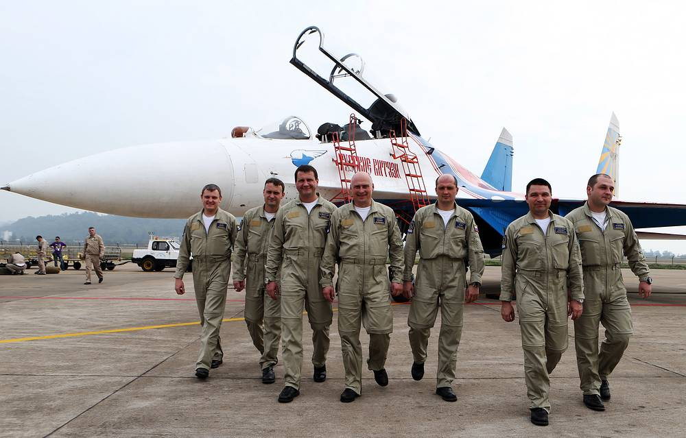 Members of the Russian Knights aerobatic team