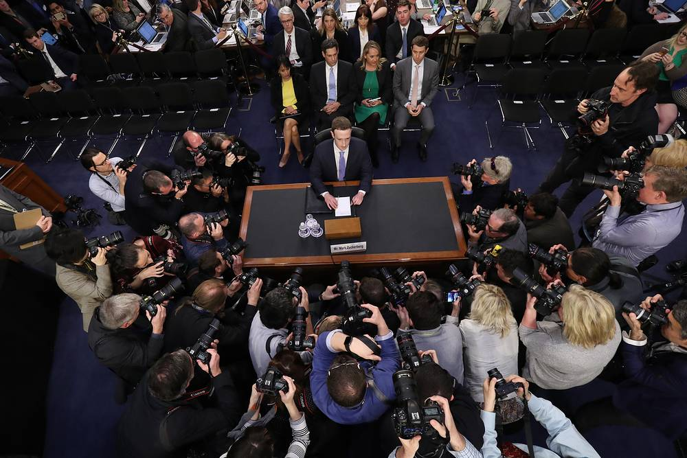 Facebook CEO Mark Zuckerberg arrives to testify before a joint hearing of the Commerce and Judiciary Committees on Capitol Hill about the use of Facebook data to target American voters in the 2016 election, Washington DC, USA, April 10