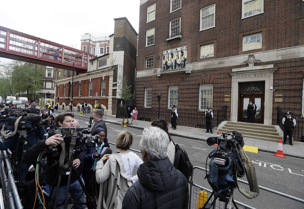 The media gathers opposite the Lindo wing at St Mary's Hospital in London