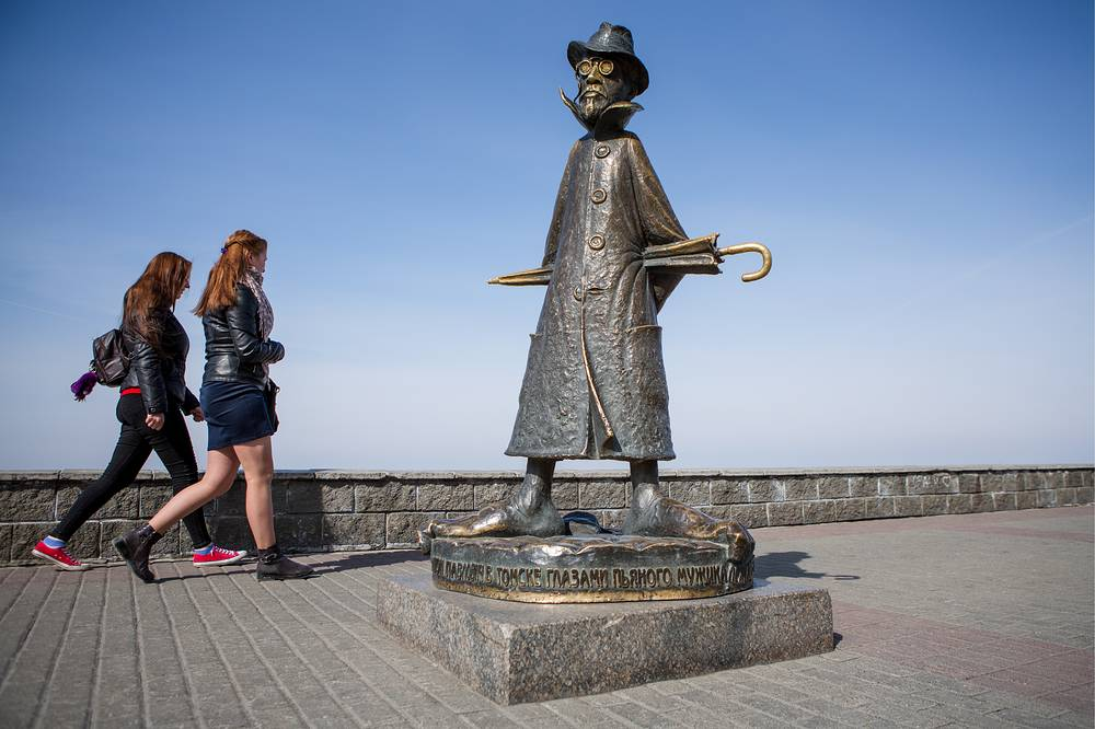 A monument to Russian playwright Anton Chekhov in Tomsk