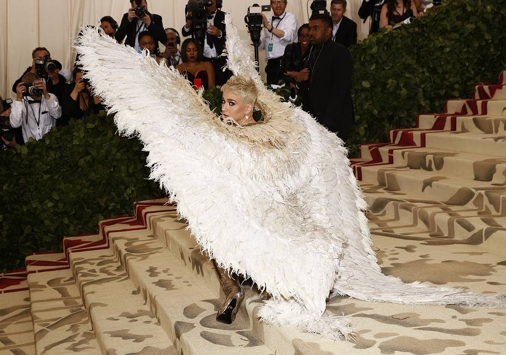 "Katy Perry arrives on the red carpet for the Metropolitan Museum of Art Costume Institute's gala celebrating the opening of the exhibit ""Heavenly Bodies: Fashion and the Catholic Imagination"" in New York, May 7"