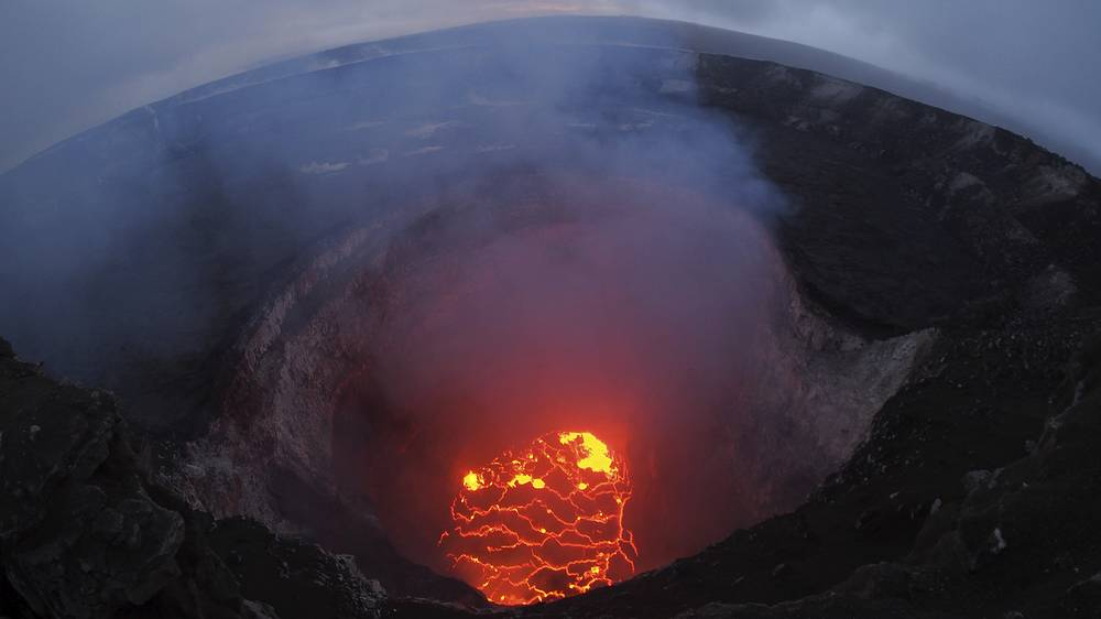 Lava lake at the summit of Kilauea near Pahoa, Hawaii, May 6. Hawaii's erupting Kilauea volcano has destroyed homes and forced the evacuations of more than a thousand people