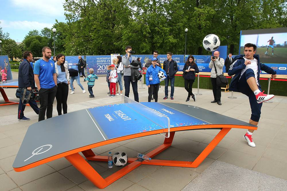 Playing teqball in the 2018 FIFA World Cup Football Park in St. Petersburg