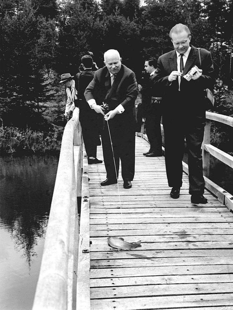 First Secretary of the Central Committee of the Communist Party of the Soviet Union Nikita Khrushchev and his son Sergei Khrushchev fishing during their visit to Yugoslavia, 1969