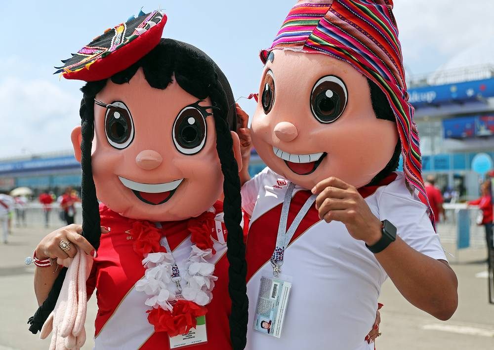 Supporters of the Peruvian football team seen by Fusht Stadium in Sochi