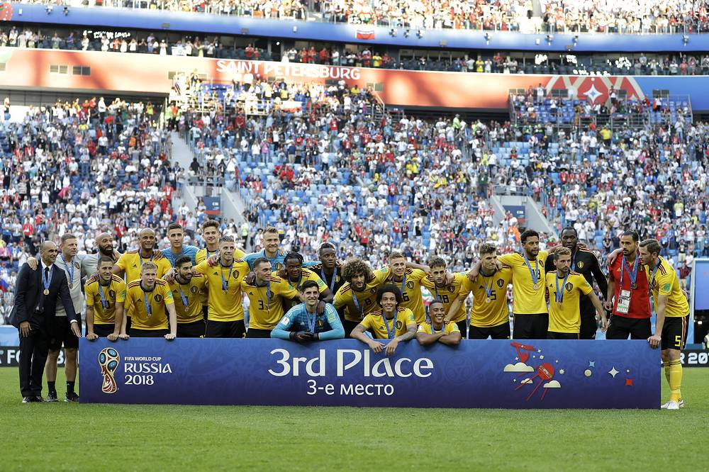 Team Belgium pose after the third place match between England and Belgium at the 2018 World Cup in St. Petersburg, July 14