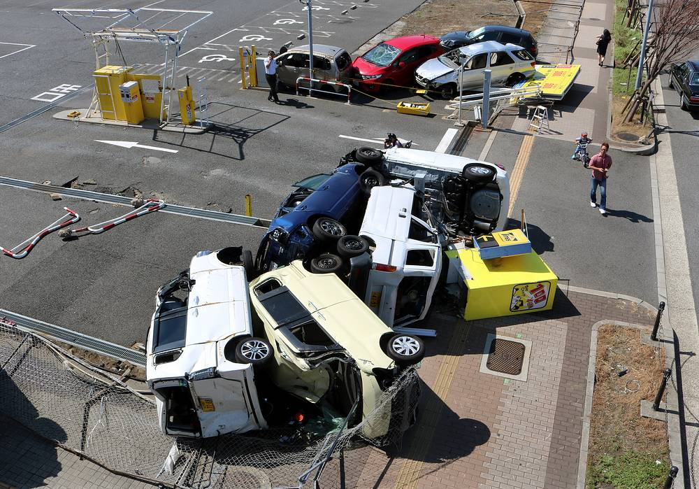 Tumbled cars seen following strong winds in Osaka, western Japan