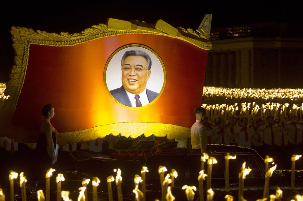 A float with a portrait of late North Korean leader Kim Il Sung