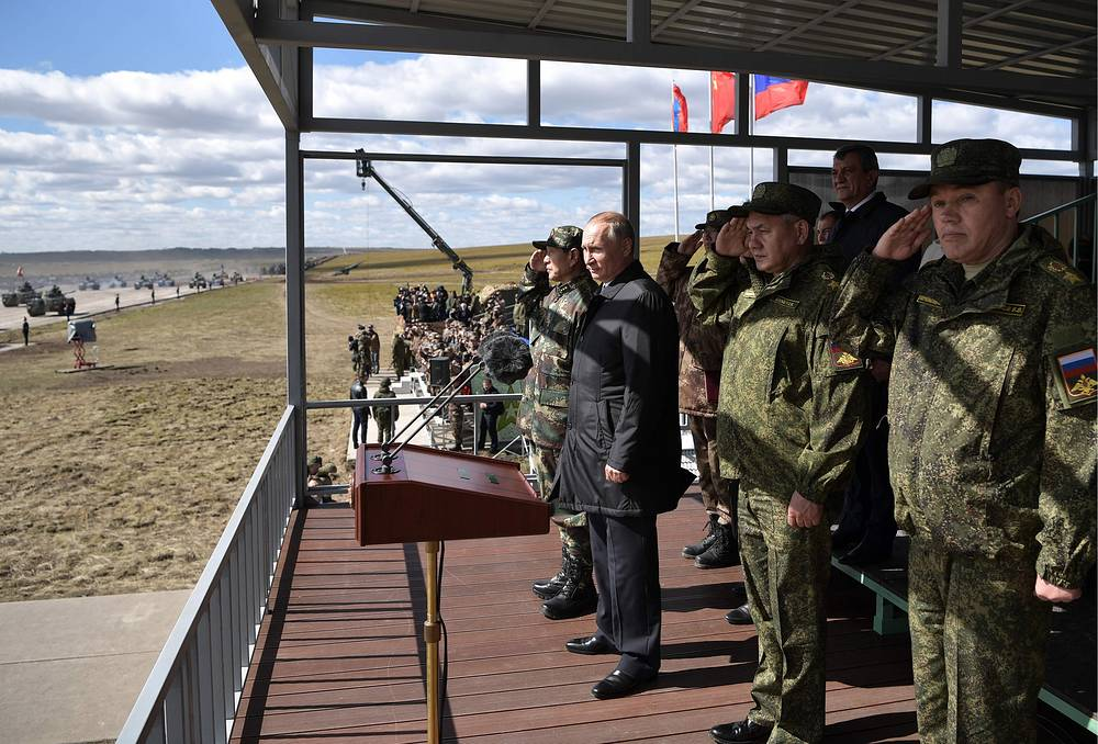 Russia's President Vladimir Putin, Defense Minister Sergei Shoigu and his first deputy, Chief of the General Staff of the Russian Armed Forces Valery Gerasimov