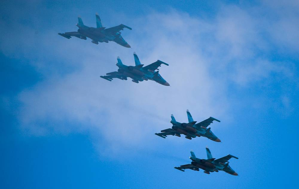 Aircraft seen during the main stage of the Vostok 2018 military exercise