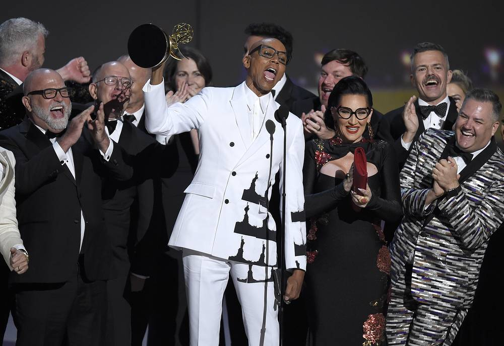 "RuPaul Charles and the team from ""RuPaul's Drag Race"" accept the award for outstanding reality/competition program"