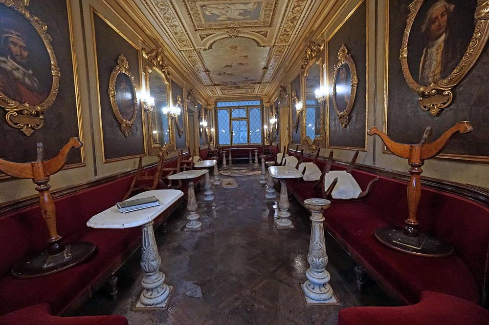 A room inside the historic Caffe Florian, in the area of San Marco square in Venice