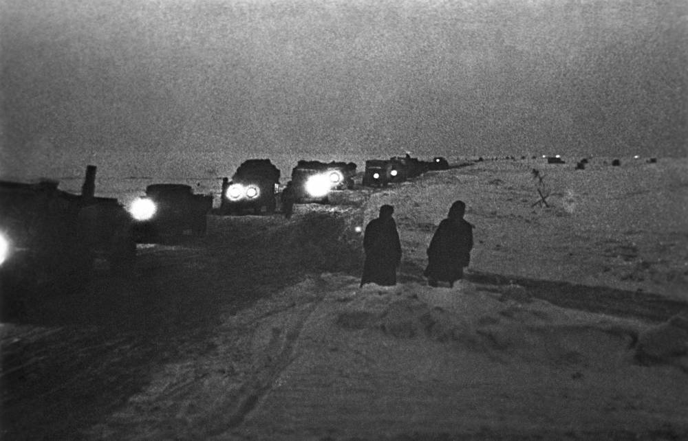 A view of the ice road supply route built on top of frozen Lake Ladoga, 1943