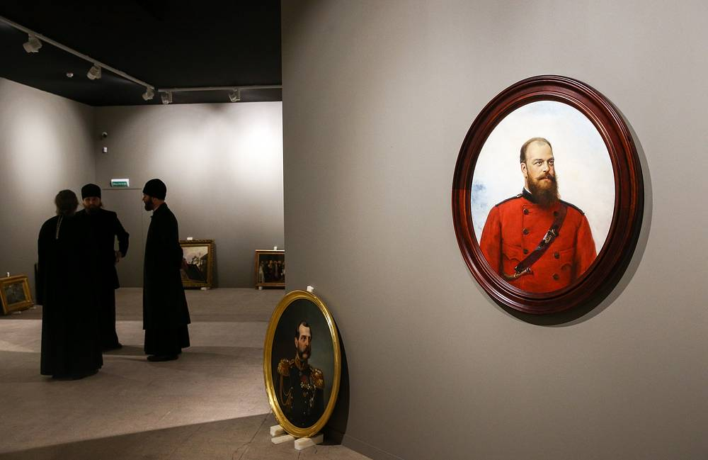 A portrait of Alexander III of Russia (1883) by painter Alexei Korzukhin seen during last-minute preparations for the Treasures of Russian Museums exhibition held as part of the 17th exhibition-forum titled Orthodox Rus - National Unity Day at the Manege Central Exhibition Hall in Moscow