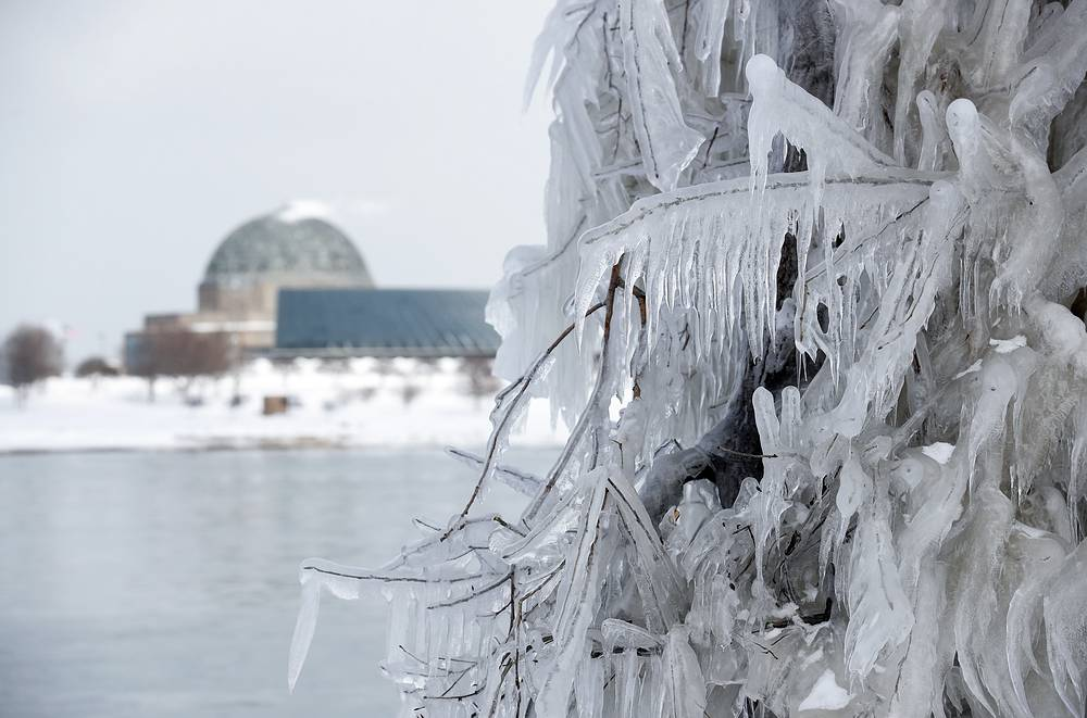 Ice and snow builds up along Lake Michigan in Chicago