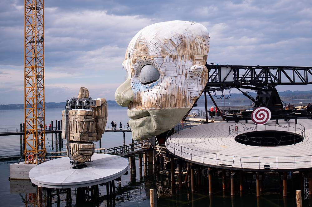 A general view of the scenery for Giuseppe Verdi's opera 'Rigoletto' during its topping out ceremony at the Seebuehne 'lake stage' in Bregenz, Austria, April 3
