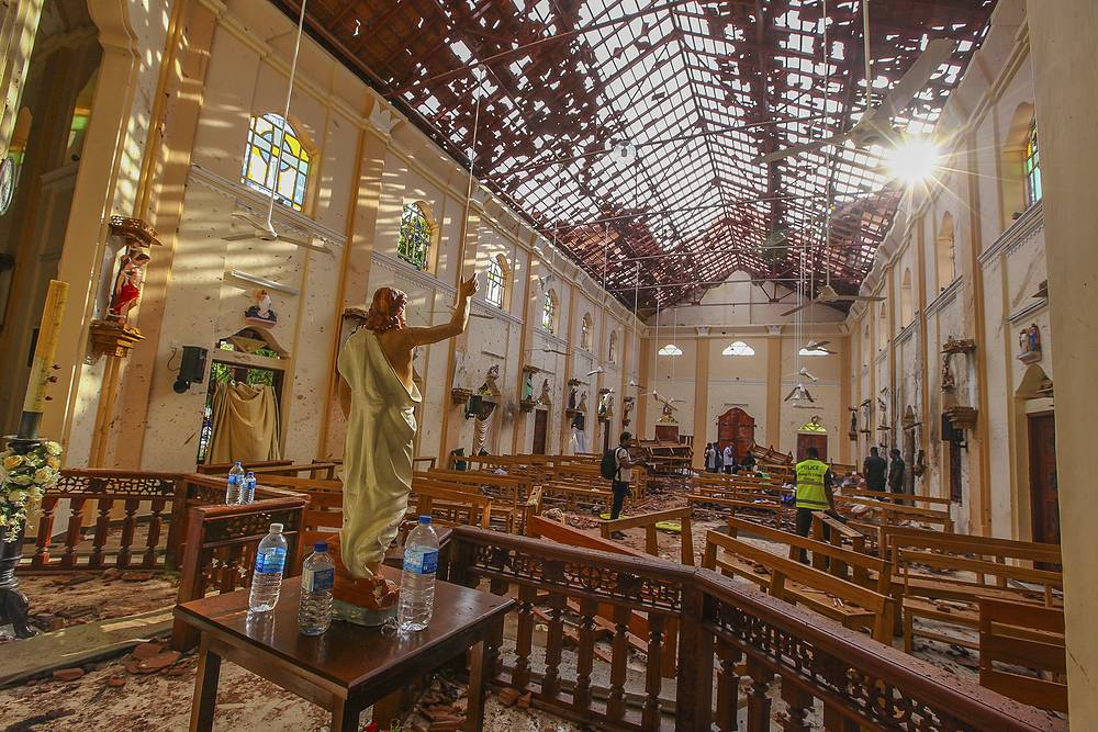 A view of St. Sebastian's Church damaged in blast in Negombo, north of Colombo
