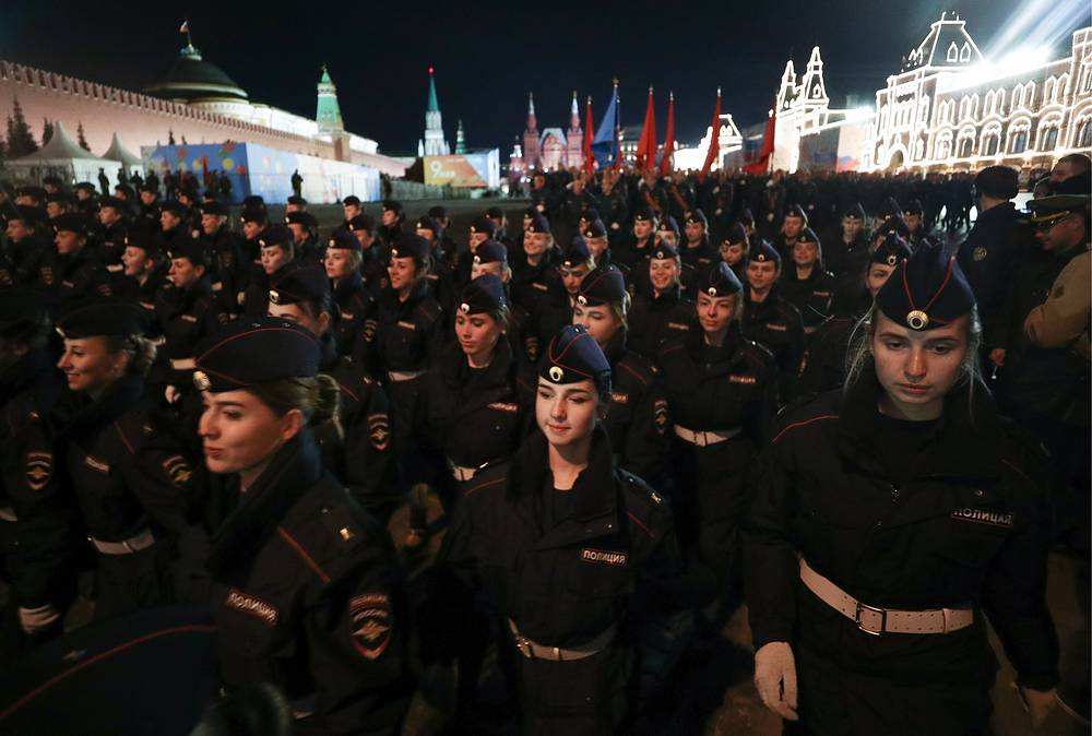 Servicemen seen in Moscow's Red Square during a night rehearsal of a Victory Day military parade scheduled for May 9 to mark the 74th anniversary of the Soviet victory over Nazi Germany in World War II
