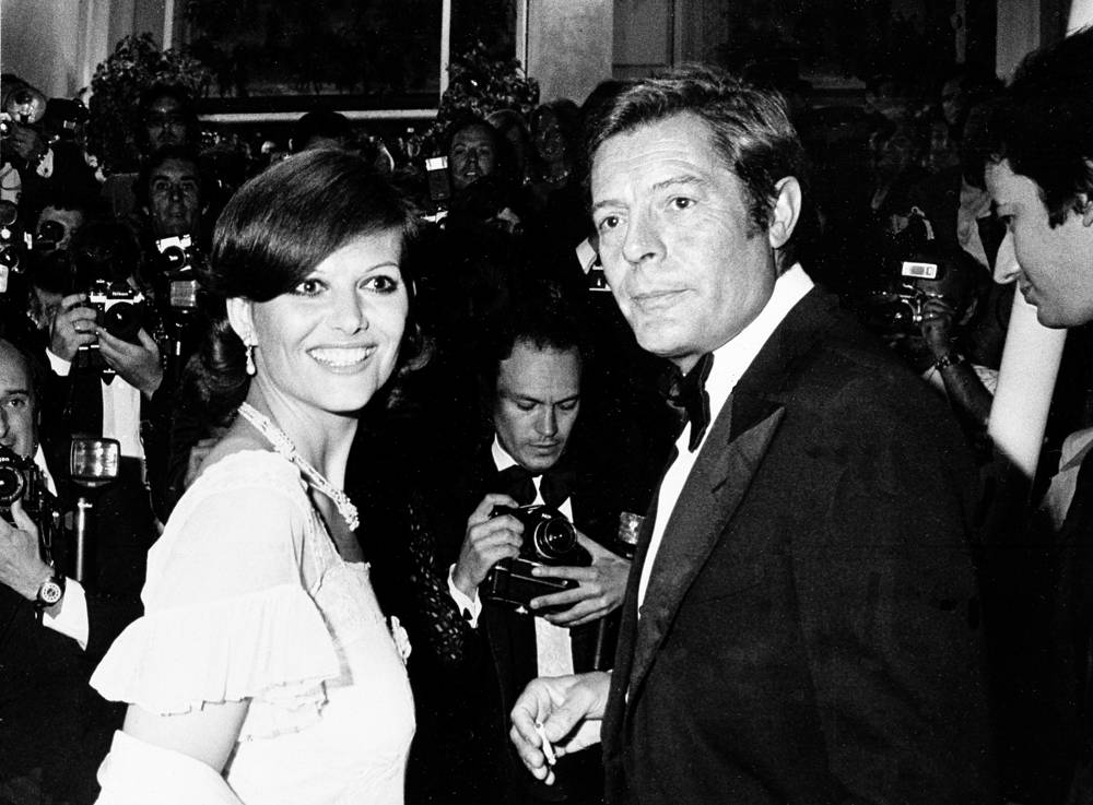 Italian actress Claudia Cardinale and actor Marcello Mastroianni at the International Film Festival, Cannes, 1975