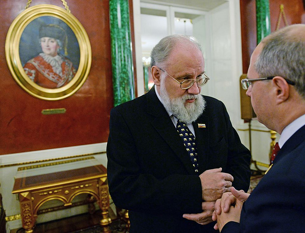 Chairman of Russia's Central Election Committee Vladimir Churov (L)