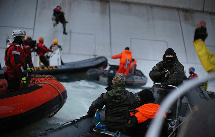 Greenpeace activists detained after attempted boarding of the Prirazlomnaya oil rig in the Arctic.