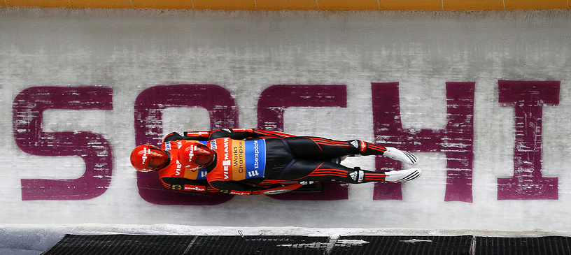 Winners of the Luge World Cup 2013 at the Sliding Center Sanki near Sochi