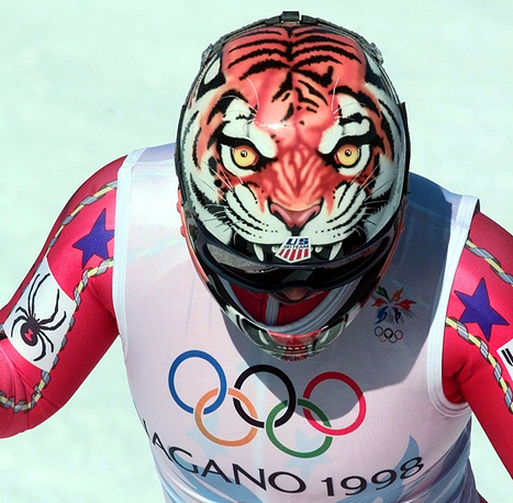 The snarling features of a tiger stare out from the top of Picabo Street's ski helmet