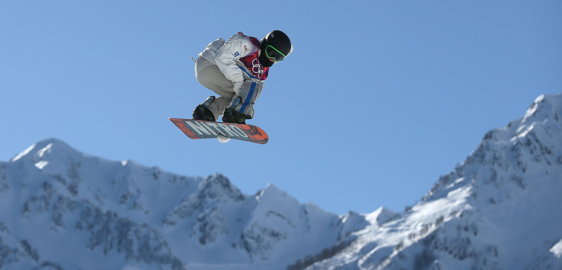 Sven Thorgren of Sweden during his first run in heat two of the Men's Snowboard Slopestyle qualification at Rosa Khutor Extreme Park at the Sochi 2014 Olympic Games, Krasnaya Polyana, Russia