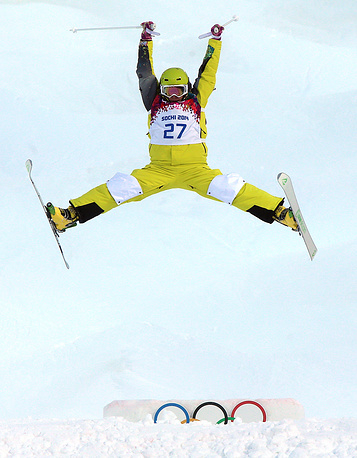Darya Rybalova of Kazakhstan during women's Freestyle Skiing Moguls qualification